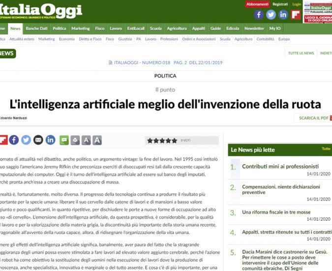 Italia Oggi – Talento líquido e inteligencia artificial