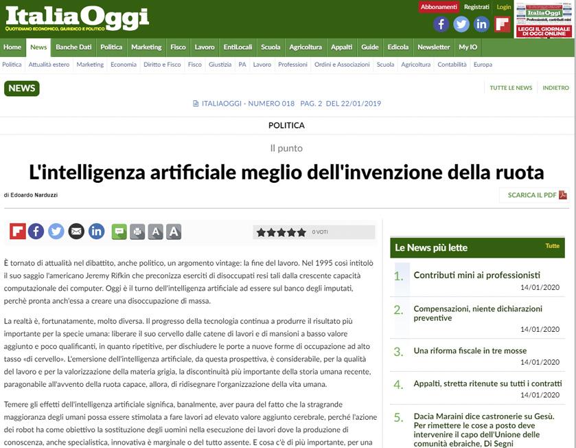 Italia Oggi – Talento liquido e intelligenza artificiale